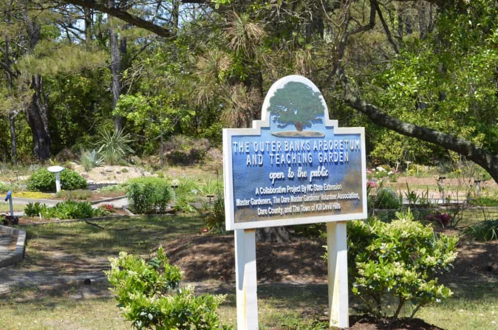 This hidden gem features a walking path, sculptures, beautiful flowering plants, herbs and shrubs - Outer Banks Arboretum and Teaching Garden