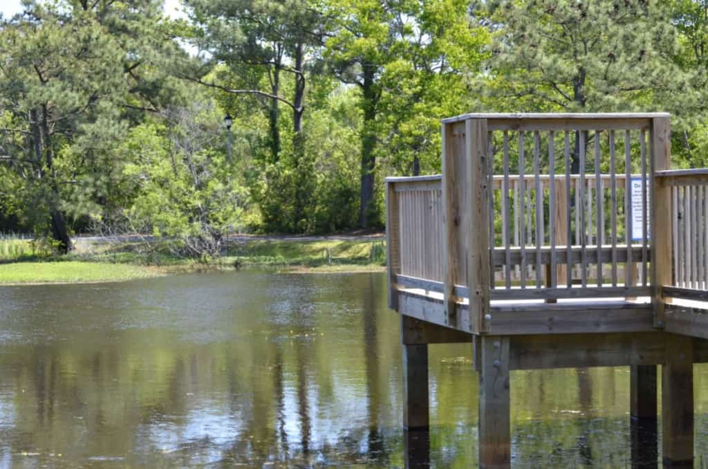 Enjoy the fitness trail that is mostly shaded and circles this scenic little pond at the Aviation Park in Kill Devil Hills