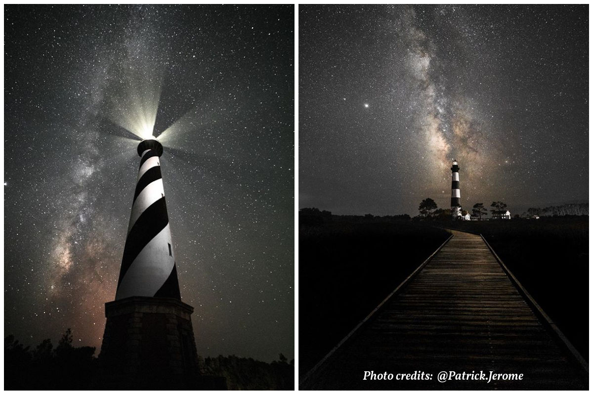 Outer Banks Lighthouses and milkyway from Patrick Jerome shared by SAGA