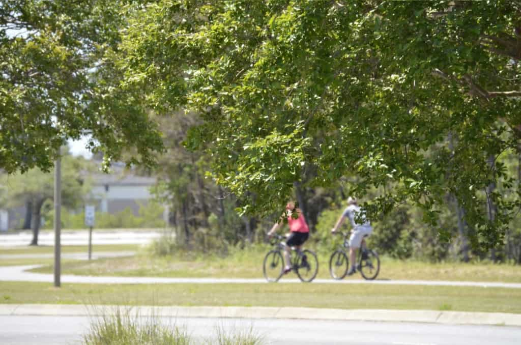 Safe from road traffic, the multi-use path is perfect for a family bike ride