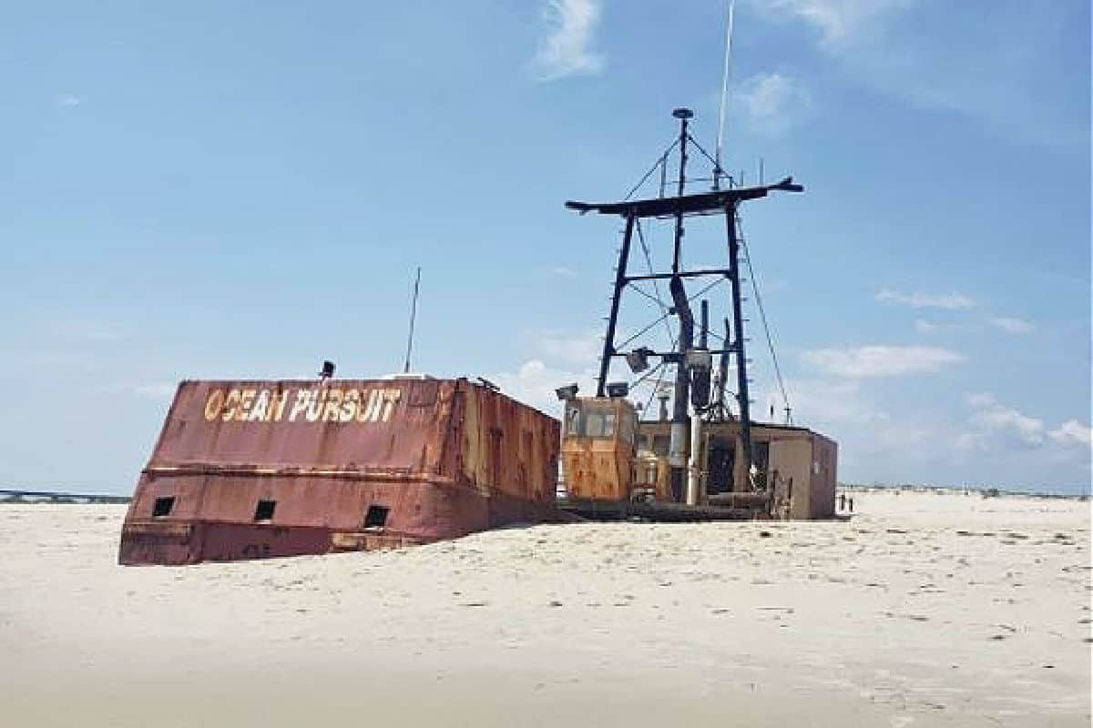 The Ocean Pursuit sinks in the shifting sand on the Hatteras National Seashore. Image credit: Sean Amateur Photography