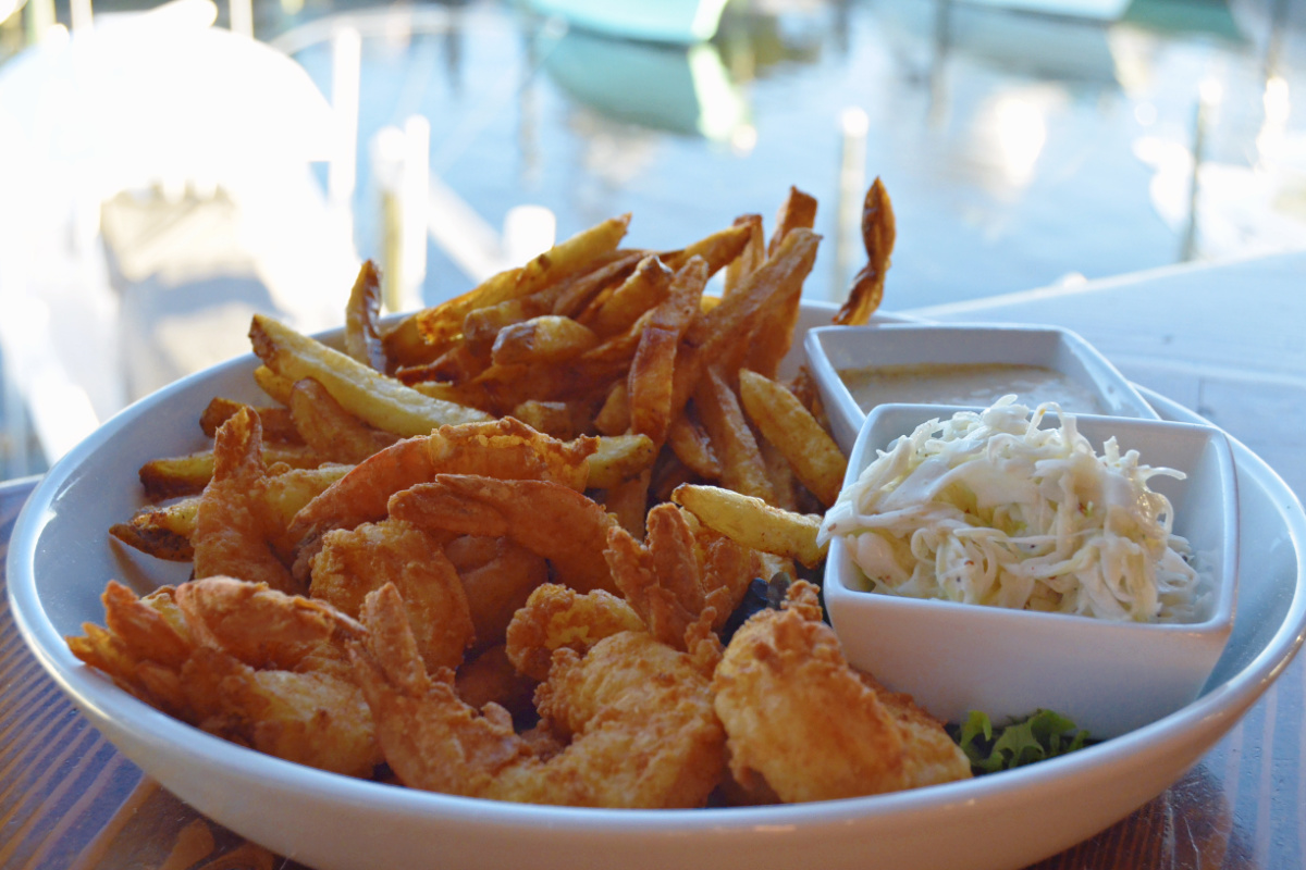 Outer Banks fried shrimp Blue Water Grill from SAGA close up2