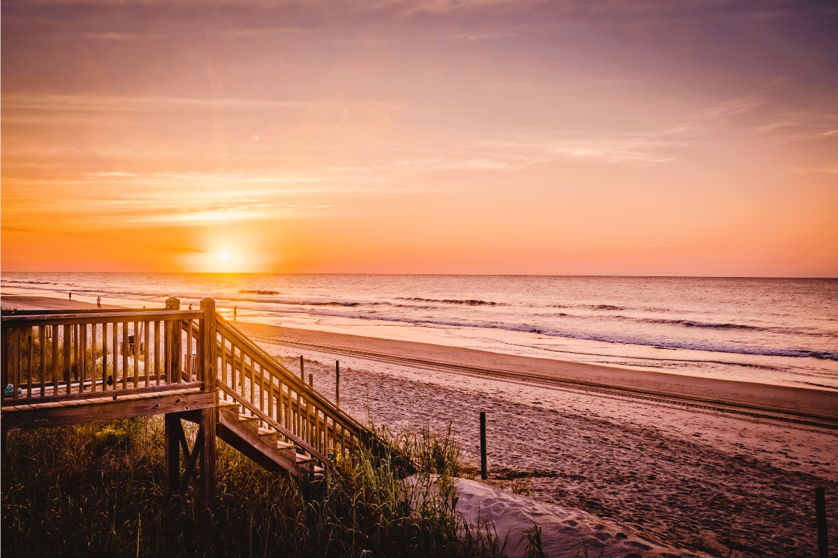 Outer Banks sunrise beach stairs SAGA
